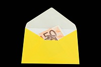 Yellow envelope with ero isolated on black
