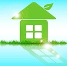 illustration, abstract green house on blue background