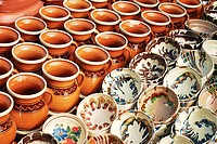 various clay pottery display background