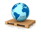 one world globe on a pallet, concept of shipping everywhere 3d render
