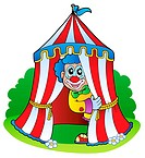 Cartoon clown in circus tent _ picture illustration.