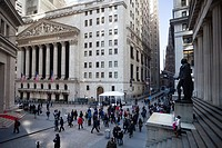 USA, New York City ,Downtown Manhattan , Wall Street,the Stock Exchange , Trinity Church and Federal Hall