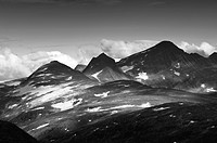 Mountain range in the evening sun, the Jotunheimen National Park, Norway
