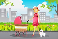 A vector illustration of a beautiful pregnant woman pushing a stroller walking with her dog in a park