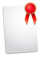 illustration of Blank red award ribbon rosette