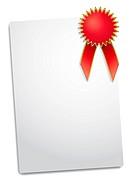 illustration of Blank red award ribbon rosette