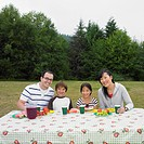Portrait of multi_ethnic family eating at picnic table