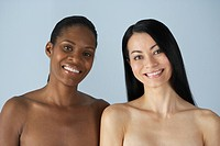 Two multi_ethnic women with bare shoulders