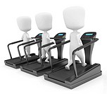 3D Illustration of Guys Running on Treadmills