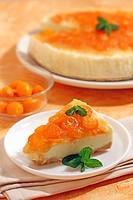 Iced tart with yogurt and kumquats