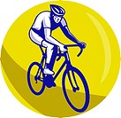 illustration of a Cyclist riding racing bike set inside circle viewed from front done in retro woodcut style.