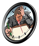 Conceptual piece. A man looking very stressed and under pressure working in clock face
