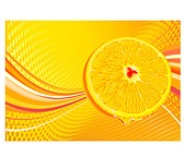 Vector illustration of abstract background with juicy slice of orange fruit