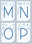 Vector English alphabet on school paper background with child pictures