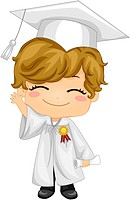 Illustration of a Kid Waving and Wearing Graduation Attire_ eps8