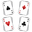 aces playing cards over white background, abstract vector art illustration