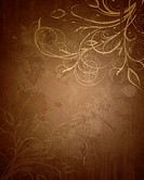 Floral grunge brown and gold background