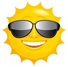 Isolated illustrated Smiling sun with sunglasses