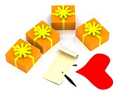 letter and gifts. 3D