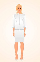 Illustration girl in white business suit isolated _ vector