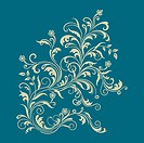 Floral ornament on turquoise background vector illustration