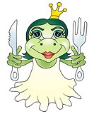 Sweet princess frog is ready for dinner