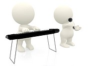 3D men playing keyboard and singing on microphone isolated over a white background