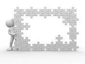 3d people _ human character and a wall of the puzzle _ jigsaw. This is a 3d render illustration