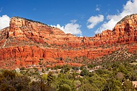 Red Rock Canyon Butte Little Horse Park Houses Chapel of the Holy Cross Green Trees Sedona Arizona