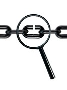 A chain and magnifying glass on white