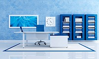 contemporary blue office with white desk _ rendering _ the art picture on wall is a my composition