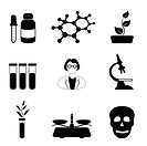 Science, biology and chemistry related icon set in black