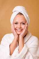 Beautiful Woman Getting Beauty Treatment Wearing Robe