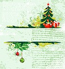 Grunge christmas frame with tree, element for design, vector illustration
