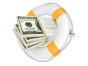 Life buoy with dollar. 3d illustration isolated on a white
