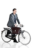 Businessman With Old_Fashioned Bicycle, Concept: I go Green