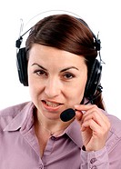 Smiling call center operator over white
