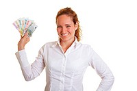 Smiling business woman showing a Euro money bill fan