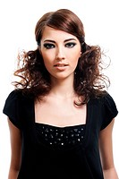 Attractive young woman with fashion hairstyle and bright black make_up