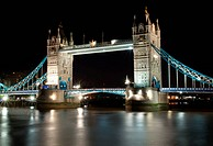 Tower Bridge and the River Thames at night
