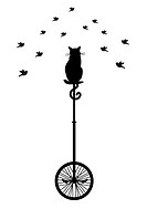 cat sitting on monocycle and watching birds, vector background