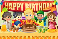 A vector illustration of multi_ethnic kids in a birthday party