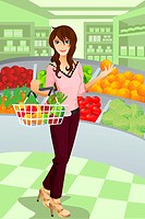 A vector illustration of a beautiful woman shopping grocery at the supermarket. Part of ´A Day In Life´ series see others in my portfolio