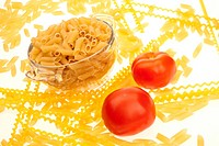 food series: uncooked pasta in glassy bowl