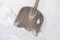 Close up of snow shovel