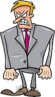 cartoon humorous illustration of very angry businessman