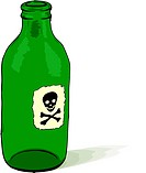 Glass bottle with a poison symbol _ rough vector illustration