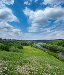 Landscape _ meadow, the blue sky and river