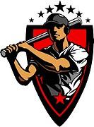 Baseball Vector Design Template of a Baseball Hitter Swinging Bat