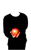 Photograph of a person in front of a white background, wearing black clothes and holding a red apple.